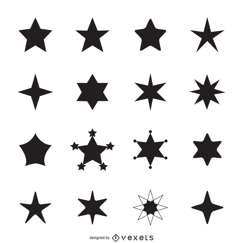 Silhuetas de ícone de estrela simples