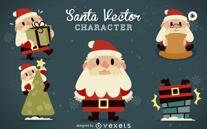 Flache Weihnachtsmann-Cartoons