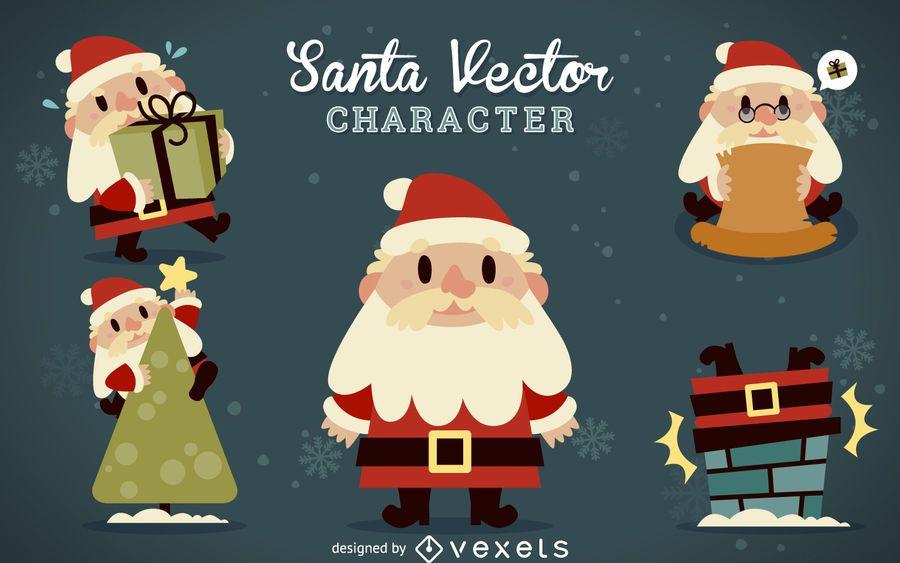 Flat Santa Claus cartoons