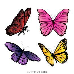 Conjunto de ilustración de mariposa colorida