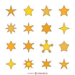 Ilustração de estrela plana com conjunto de acidente vascular cerebral