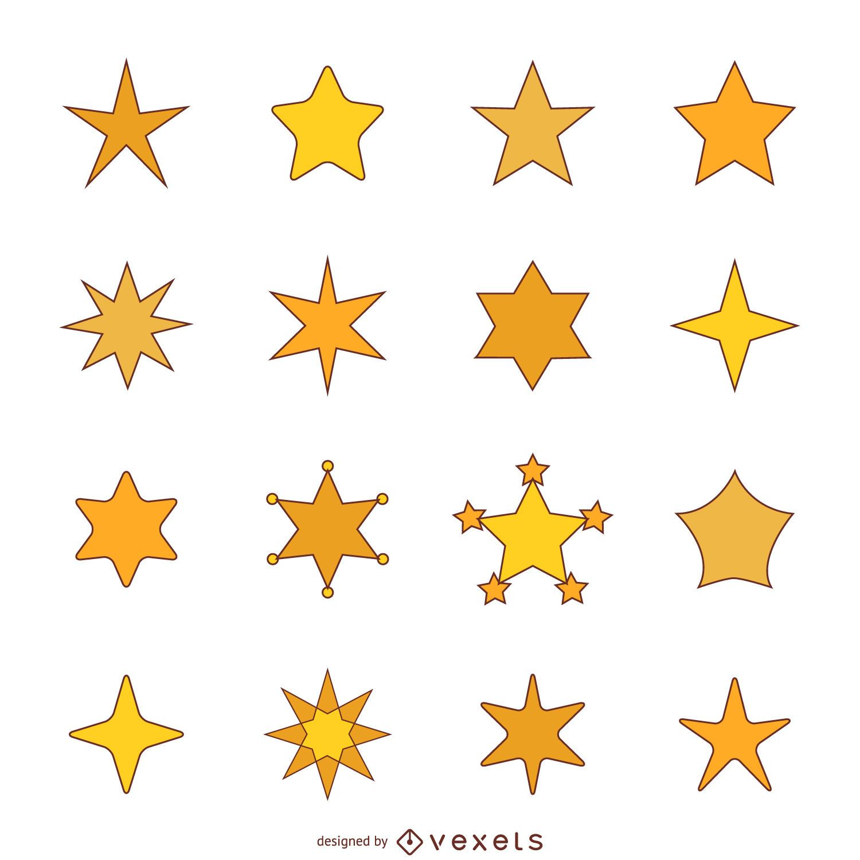 Flat star illustration with stroke set