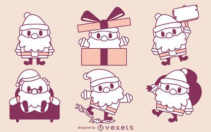 Conjunto de contornos de Santa dos desenhos animados