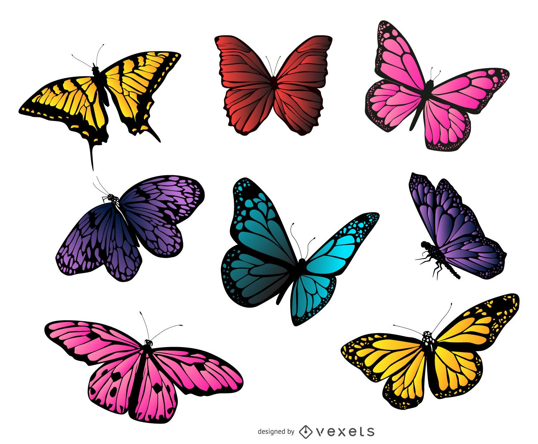 Colección de ilustraciones de mariposas coloridas