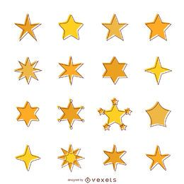 Flat star icons with stroke set