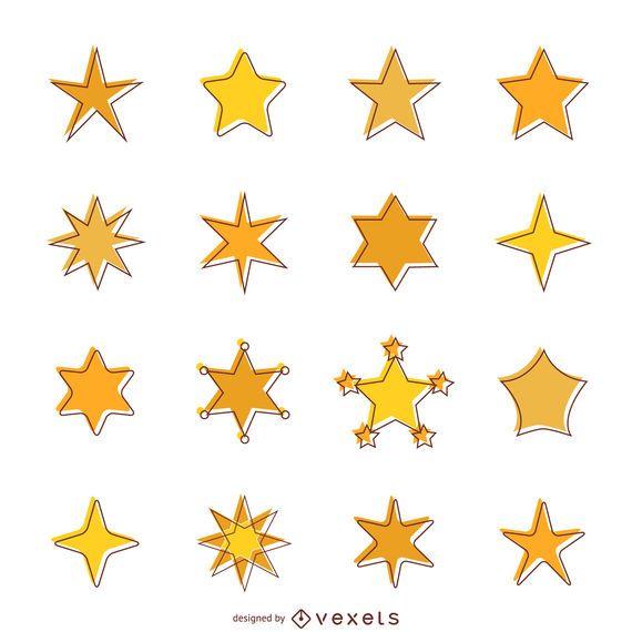 Iconos de estrellas planas con conjunto de trazo