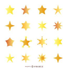Flat star illustration with gradient set