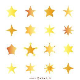 Ilustração de estrela plana com conjunto de gradiente