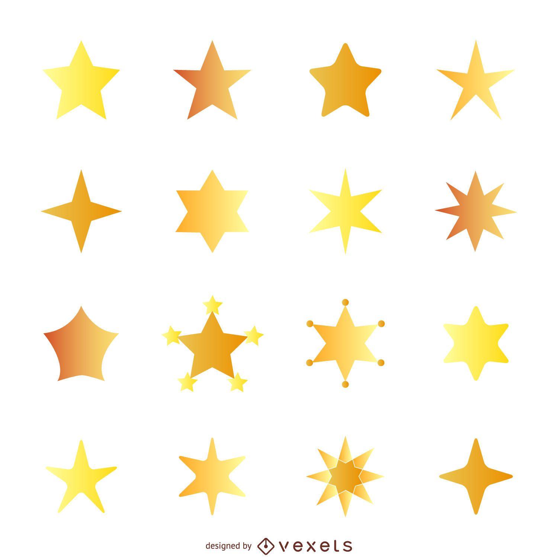 Flat star illustration with gradient set