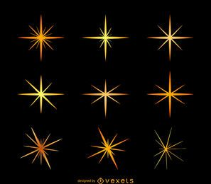 Conjunto de ilustración de destellos de estrellas