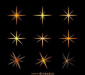 Estrella brilla conjunto de ilustración