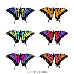 Conjunto de ilustración de gradiente de mariposa