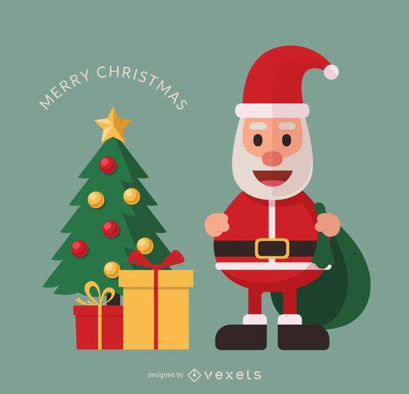 flat santa cartoon with christmas tree - vector download