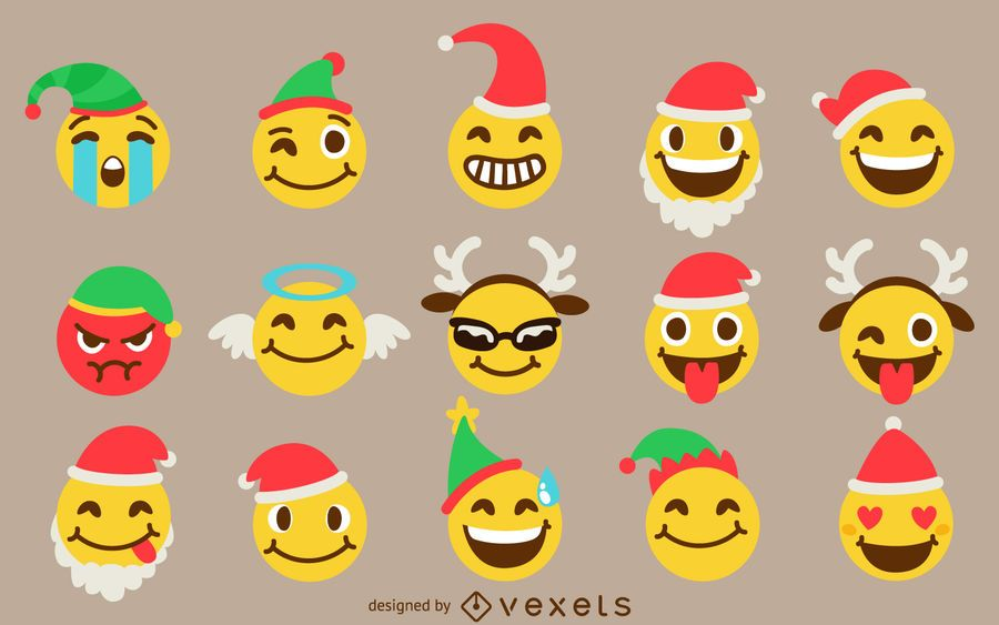 Christmas Emoji.Christmas Emoji Set Vector Download