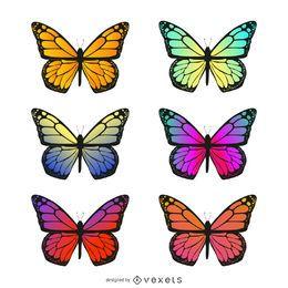 Conjunto de ilustración de gradiente de mariposa aislado