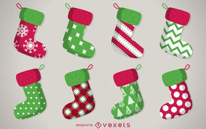Isolated Christmas stocking set with patterns