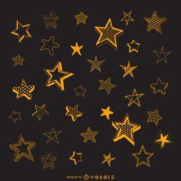 Ilustração de esboços estrela isolada