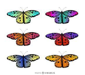Conjunto de ilustración de mariposa gradiente