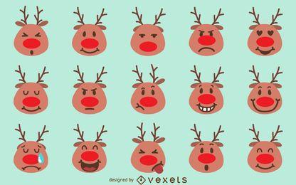 Pacote de emoji de rena de Natal