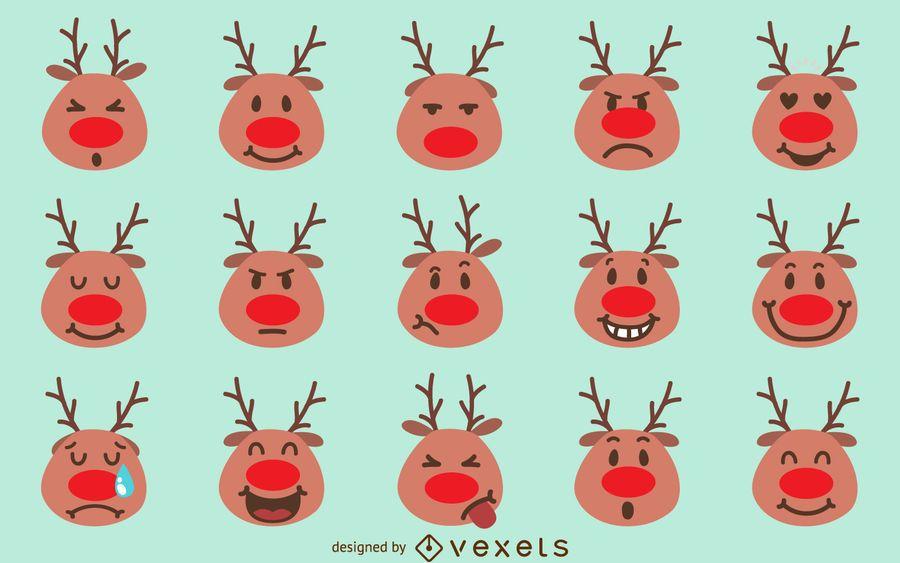 Emoji paquete de Navidad del reno  Descargar vector