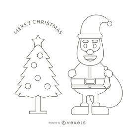 Ilustração de traçado de contorno de Santa