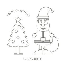 Santa outline stroke illustration