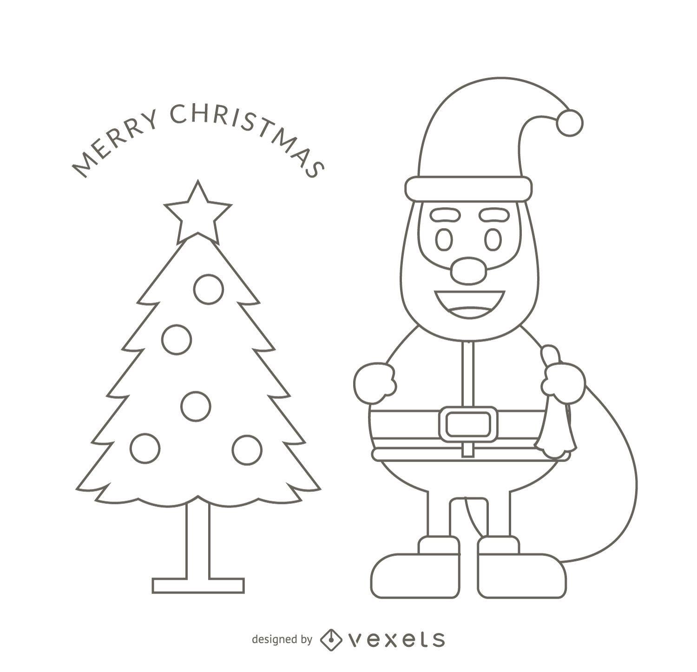 Santa outline stroke illustration