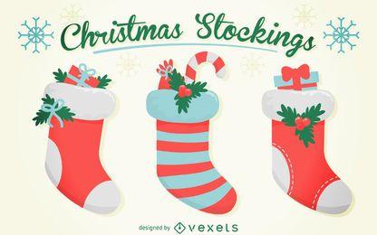 Conjunto aislado calcetín de Navidad
