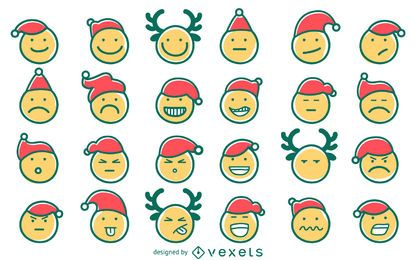 Hand drawn Christmas emoji set