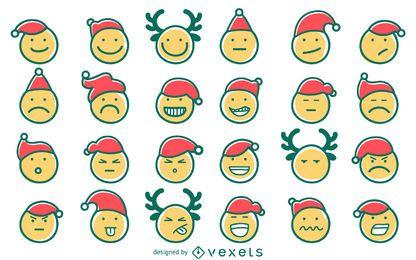 Handgezeichnete Weihnachts-Emoji-Set
