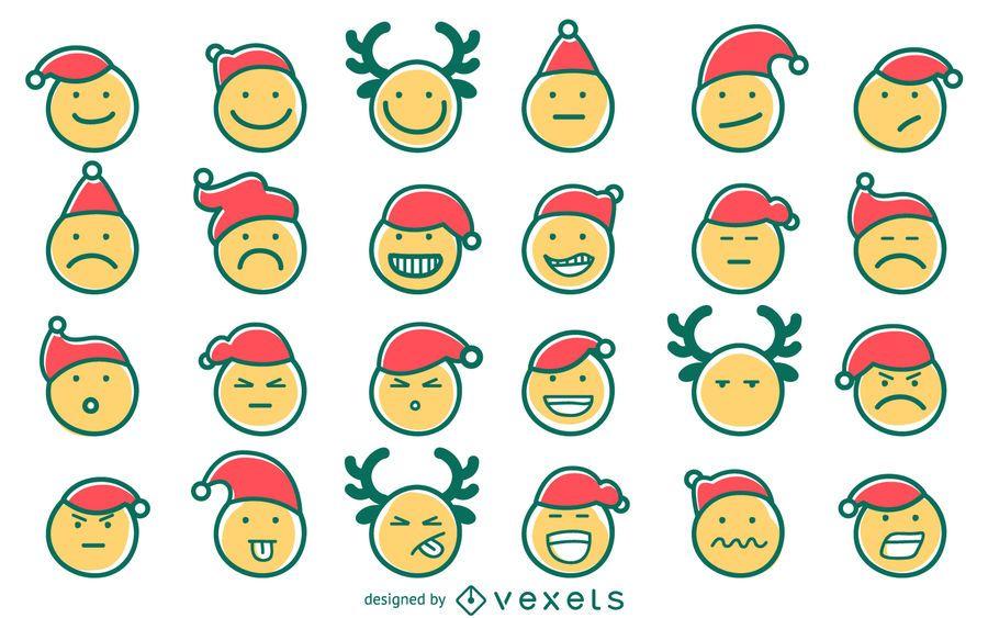 Hand drawn Christmas emoji set