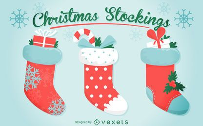 3 Christmas stocking illustration set