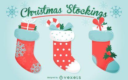 Conjunto de ilustración de 3 medias de Navidad