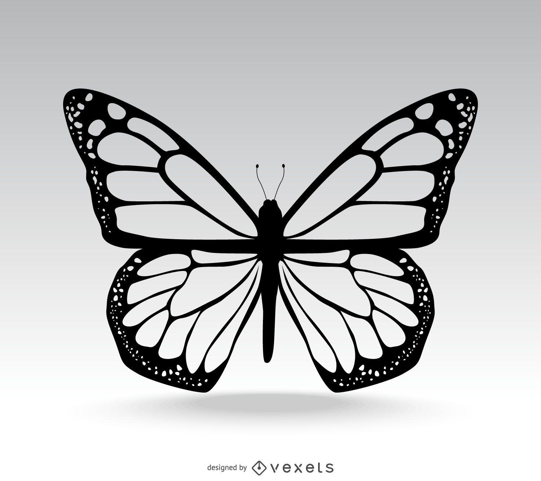 Klassische isolierte Schmetterlingsillustration