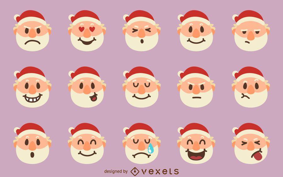 Santa emoji set
