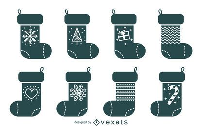 Basic Christmas stocking illustration set