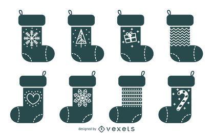 Conjunto de ilustración de media de Navidad básica