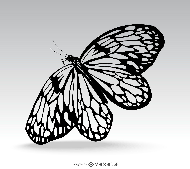 Ilustración aislada hermosa mariposa
