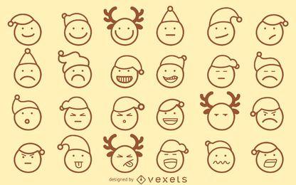 Conjunto de contorno de emoji de Natal