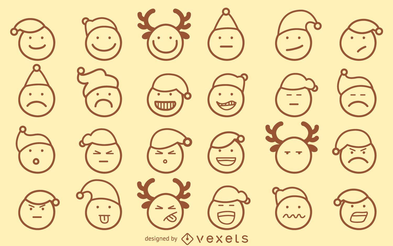 Christmas emoji outline set
