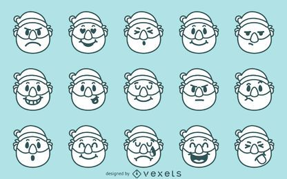 Navidad emoji conjunto de Navidad