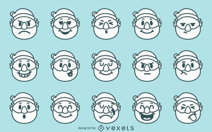 Weihnachts-Santa-Emoji-Set