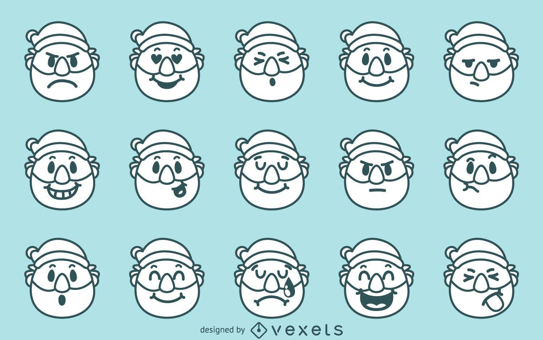 Christmas Santa emoji set
