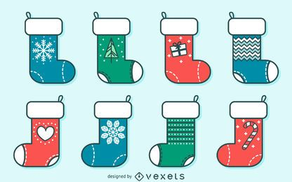 Christmas stocking stroke illustrations