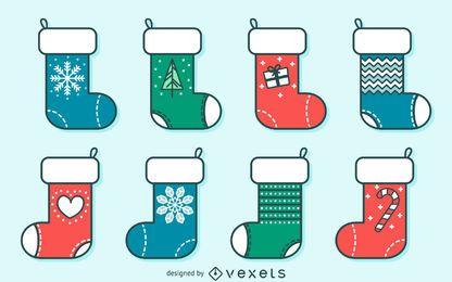 Ilustrações de traçado de meia de Natal