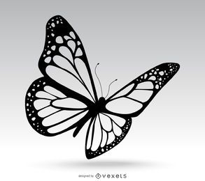 Isolated butterfly drawing