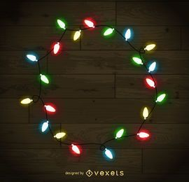 Colorful Christmas lights frame