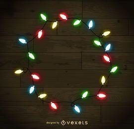 Colorful Christmas lights frame