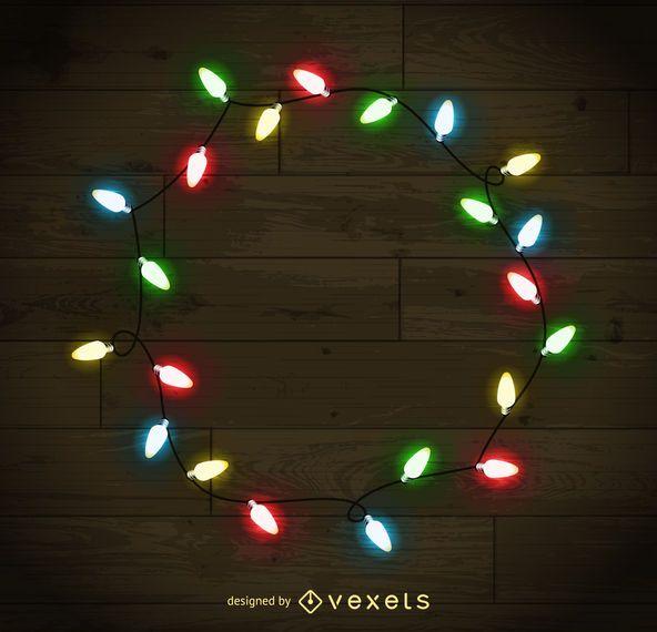 colorful christmas lights frame - Christmas Lights Frame