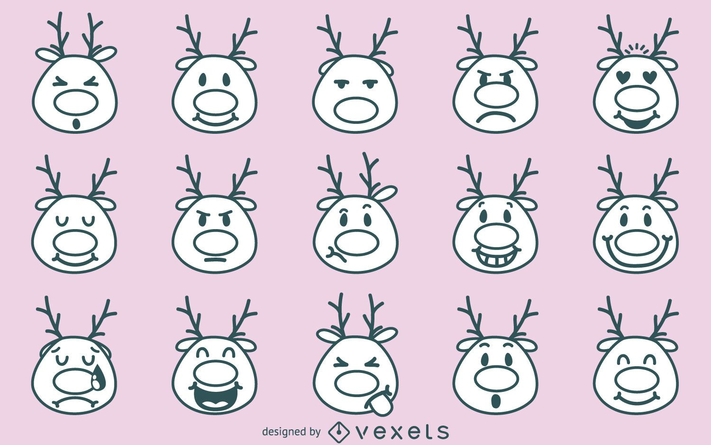 Christmas reindeer emoji collection